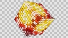 Broadcast Hi-Tech Twinkling Spinning Cube 09 Stock Footage