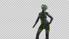 alien,super fashion model, girl fly,alpha channel - stock footage