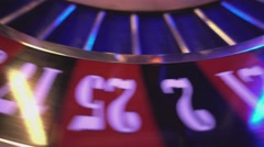Roulette Wheel in a casino - extreme close up Stock Footage