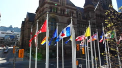 Provincial flags and Toronto's Old City Hall Stock Footage