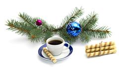 Fir-tree branch with ornament, a cup of coffee and a linking of cookies Stock Photos