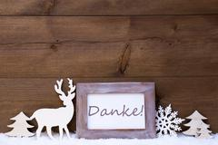 Shabby Chic Christmas Card With Danke Means Thank You - stock photo