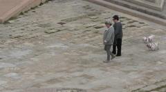 People walk their dog near the Roman Catholic Cathedral Santa Maria La Seu Stock Footage