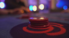 Black jack casino game - putting bet extreme close up Stock Footage