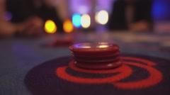 Black jack casino game - adding gaming chips - stock footage