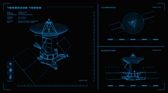 Looping, orthographic view of rotating wireframe model of Magellan spacecraft.  Stock Footage