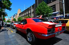 Chevrolet Camero SS engine in a Public US classic muscle car parade Stock Photos