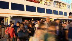 Timelapse of people get off passenger ship Stock Footage