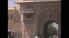 Vintage 16mm film, 1970, India, Delhi, beautiful gate - stock footage