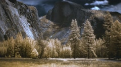 Half Dome Yosemite National Park Timelapse In Whimsical Color Infrared - stock footage