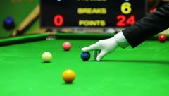 snooker referee put blue ball on point - stock footage