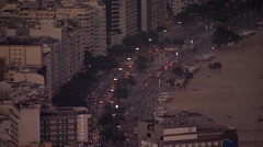 Copacabana Beach at dusk, Rio de Janeiro, Brazil Stock Footage