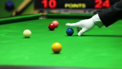 Snooker referee put blue ball on point Stock Footage