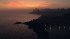 Flying towards Ipanema Beach at Twilight in Rio de Janeiro Stock Footage
