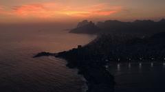 Flying towards Ipanema Beach at Twilight in Rio de Janeiro - stock footage