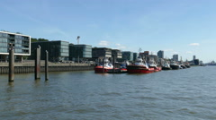 4K UHD New real estate property building office along Hamburg Port Harbour Stock Footage