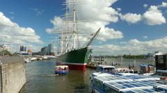 4K UHD Hamburg Elbphilharmonie Hamburg n Rickmer Rickmers museum ship Port Stock Footage