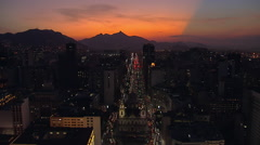 Flying above illuminated Street in Rio de Janeiro at Sunset - stock footage