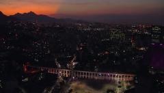 Aerial panorama of Rio de Janeiro at Sunset with famous Carioca Aqueduct Stock Footage