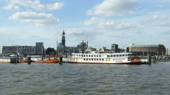4K UHD Hamburg St. Pauli Landungsbrücke Landing Bridge quay pier Port Harbour Stock Footage