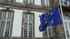 European Union Flag flies at half-mast Stock Footage