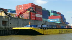 4K UHD Hamburg Elbe river Port harbour harbor dock with cargo containers on ship Stock Footage
