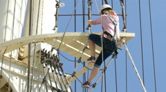 4K UHD Hamburg Elbe river Rickmer Rickmers sail boat museum ship rope climbing Stock Footage