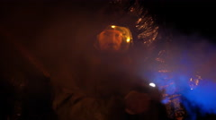 Scifi scene man in hazmat gear Stock Footage