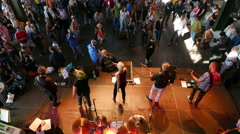 Stock Video Footage of 4K UHD Hamburg Fish Auction Hall at Fish market Sunday music concert