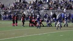 2715 - youth football, PeeWee, Pop Warner, right side for 14, hard tackle, flag - stock footage