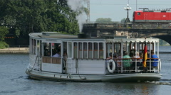 4K UHD Hamburg river Alster nostalgic boat tour cruise old steam boat Stock Footage