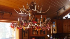 Beautiful hand carved antler chandelier Stock Footage