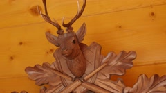 Beautiful hand carved cuckoo clock on a wall Stock Footage