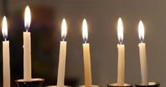 Lit Hanukkah Candles Stock Footage