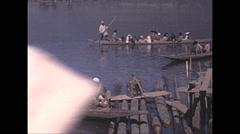 Vintage 16mm film, 1970, India, crowded market Stock Footage