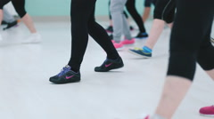 Shooting feet girls during training fitness. Stock Footage
