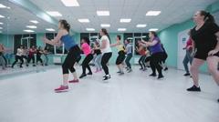 Young girls in training on fitness. Stock Footage