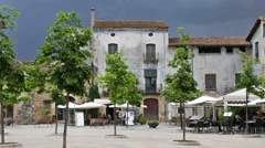 Town square at Besalu Stock Footage