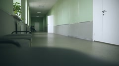 School empty corridor interior to right classes green wall Stock Footage