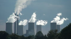 Power station cooling towers - stock footage