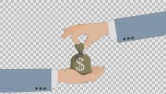 Hand With Bag of Money. Animated scene with Alpha channel . Stock Footage