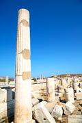 Archeology  in delos greece  acropolis  ruin site Stock Photos