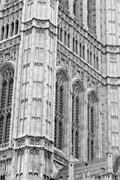 Old in london  historical    parliament glass  window    structure and  refle Stock Photos