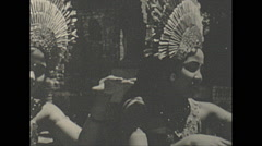 Vintage 16mm film, 1970, Thailand, traditional dance costumed female Stock Footage