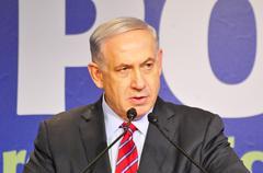 Benjamin Netanyahu, prime minister of Israel speaking - stock photo