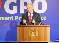 Benjamin Netanyahu, prime minister of Israel, speaking Stock Photos