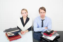 Stock Photo of woman with stack books. man. set of phones, tablets, laptops. sadness and anger
