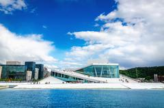 The Norwegian Opera and modernd Oslo, Norway - stock photo