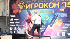 Moscow, Russia - November 14, 2015:  Public Festival board games - Cosplay Stock Footage