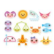 Stock Illustration of Funny Kawaii zodiac sign, astrological stiker set  virgo, aries, gemini, cancer